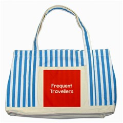Frequent Travellers Red Striped Blue Tote Bag by Mariart