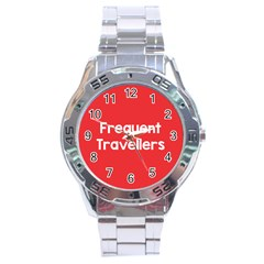 Frequent Travellers Red Stainless Steel Analogue Watch by Mariart