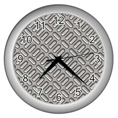 Capsul Another Grey Diamond Metal Texture Wall Clocks (silver)  by Mariart