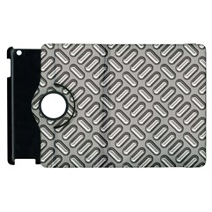Capsul Another Grey Diamond Metal Texture Apple Ipad 3/4 Flip 360 Case by Mariart