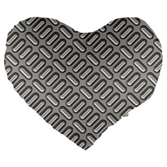 Capsul Another Grey Diamond Metal Texture Large 19  Premium Heart Shape Cushions