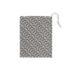 Capsul Another Grey Diamond Metal Texture Drawstring Pouches (small)  by Mariart