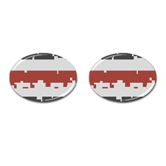 Girl Flags Plaid Red Black Cufflinks (oval) by Mariart