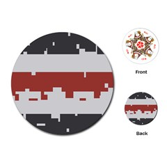 Girl Flags Plaid Red Black Playing Cards (round)  by Mariart