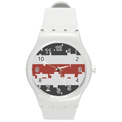 Girl Flags Plaid Red Black Round Plastic Sport Watch (m) by Mariart