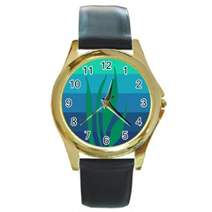 Gender Sea Flags Leaf Round Gold Metal Watch by Mariart