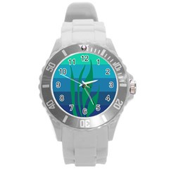 Gender Sea Flags Leaf Round Plastic Sport Watch (l) by Mariart