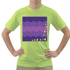 Glimragender Flags Wave Waves Chevron Purple Blue Star Yellow Space Green T Shirt by Mariart