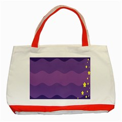 Glimragender Flags Wave Waves Chevron Purple Blue Star Yellow Space Classic Tote Bag (red) by Mariart