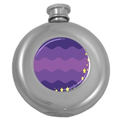 Glimragender Flags Wave Waves Chevron Purple Blue Star Yellow Space Round Hip Flask (5 Oz) by Mariart
