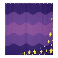 Glimragender Flags Wave Waves Chevron Purple Blue Star Yellow Space Shower Curtain 66  X 72  (large)  by Mariart