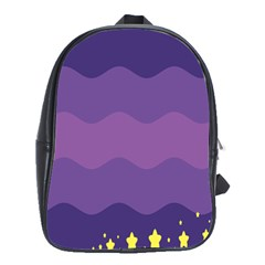Glimragender Flags Wave Waves Chevron Purple Blue Star Yellow Space School Bags(large)