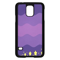 Glimragender Flags Wave Waves Chevron Purple Blue Star Yellow Space Samsung Galaxy S5 Case (black) by Mariart