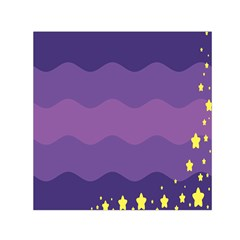 Glimragender Flags Wave Waves Chevron Purple Blue Star Yellow Space Small Satin Scarf (square) by Mariart