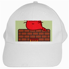 Happy Cat Fire Animals Cute Red White Cap by Mariart