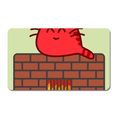 Happy Cat Fire Animals Cute Red Magnet (rectangular) by Mariart