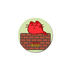 Happy Cat Fire Animals Cute Red Golf Ball Marker (10 Pack) by Mariart
