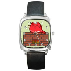 Happy Cat Fire Animals Cute Red Square Metal Watch by Mariart