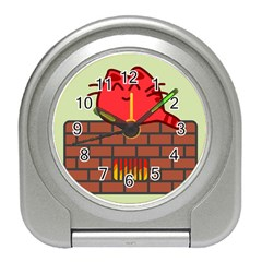 Happy Cat Fire Animals Cute Red Travel Alarm Clocks by Mariart