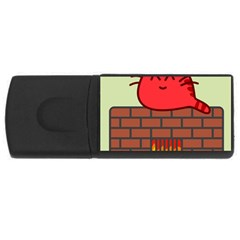 Happy Cat Fire Animals Cute Red Usb Flash Drive Rectangular (4 Gb) by Mariart