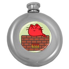 Happy Cat Fire Animals Cute Red Round Hip Flask (5 Oz) by Mariart