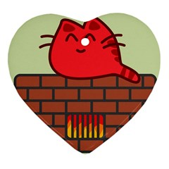 Happy Cat Fire Animals Cute Red Heart Ornament (two Sides) by Mariart