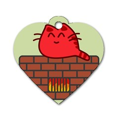 Happy Cat Fire Animals Cute Red Dog Tag Heart (two Sides) by Mariart