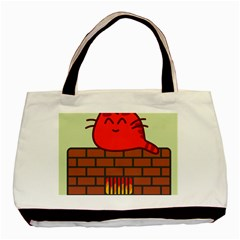 Happy Cat Fire Animals Cute Red Basic Tote Bag (two Sides) by Mariart