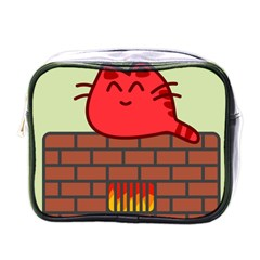 Happy Cat Fire Animals Cute Red Mini Toiletries Bags by Mariart