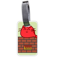 Happy Cat Fire Animals Cute Red Luggage Tags (one Side)  by Mariart