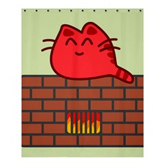 Happy Cat Fire Animals Cute Red Shower Curtain 60  X 72  (medium)  by Mariart