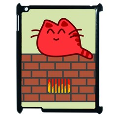 Happy Cat Fire Animals Cute Red Apple Ipad 2 Case (black) by Mariart