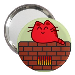 Happy Cat Fire Animals Cute Red 3  Handbag Mirrors by Mariart