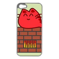 Happy Cat Fire Animals Cute Red Apple Iphone 5 Case (silver) by Mariart