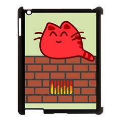 Happy Cat Fire Animals Cute Red Apple Ipad 3/4 Case (black) by Mariart