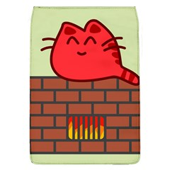 Happy Cat Fire Animals Cute Red Flap Covers (l)  by Mariart