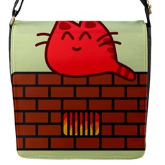 Happy Cat Fire Animals Cute Red Flap Messenger Bag (s) by Mariart