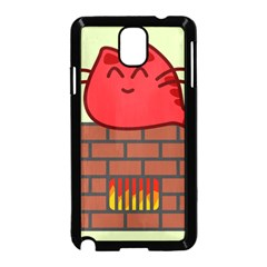 Happy Cat Fire Animals Cute Red Samsung Galaxy Note 3 Neo Hardshell Case (black) by Mariart