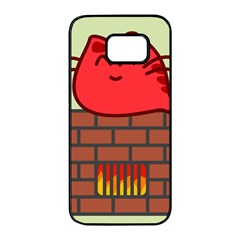 Happy Cat Fire Animals Cute Red Samsung Galaxy S7 Edge Black Seamless Case by Mariart