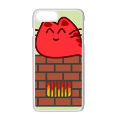 Happy Cat Fire Animals Cute Red Apple Iphone 7 Plus White Seamless Case by Mariart