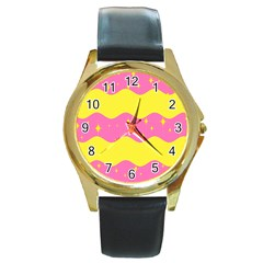 Glimra Gender Flags Star Space Round Gold Metal Watch by Mariart