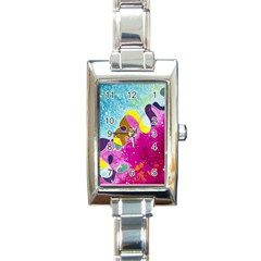 Fabric Rainbow Rectangle Italian Charm Watch by Mariart