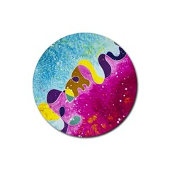 Fabric Rainbow Rubber Round Coaster (4 Pack)  by Mariart