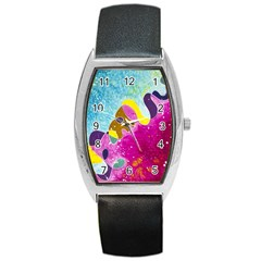 Fabric Rainbow Barrel Style Metal Watch by Mariart