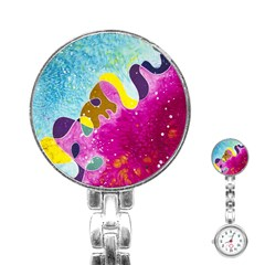 Fabric Rainbow Stainless Steel Nurses Watch by Mariart