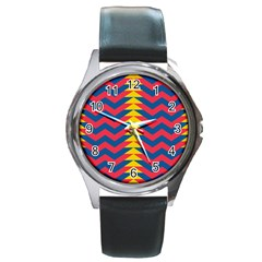 Lllustration Geometric Red Blue Yellow Chevron Wave Line Round Metal Watch by Mariart
