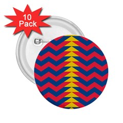 Lllustration Geometric Red Blue Yellow Chevron Wave Line 2 25  Buttons (10 Pack)