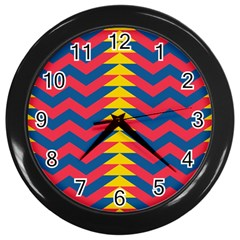 Lllustration Geometric Red Blue Yellow Chevron Wave Line Wall Clocks (black)