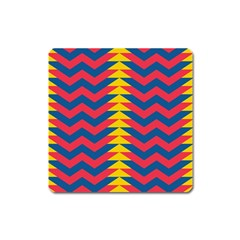 Lllustration Geometric Red Blue Yellow Chevron Wave Line Square Magnet by Mariart