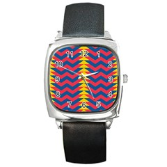 Lllustration Geometric Red Blue Yellow Chevron Wave Line Square Metal Watch by Mariart